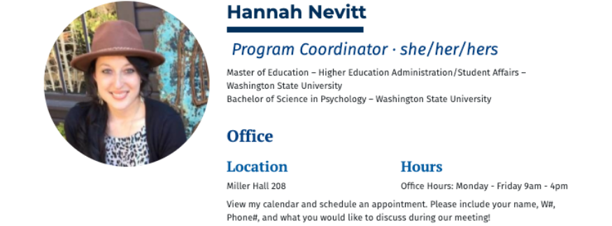Contact Hannah.Nevitt@wwu.edu if you have questions about these options.