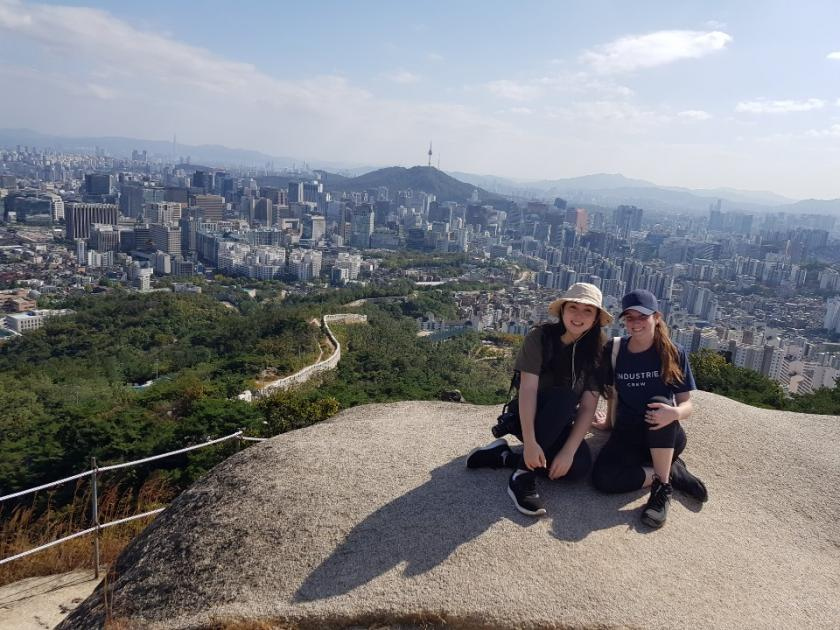 Brooke Chong and a friend in Inwangsan, South Korea