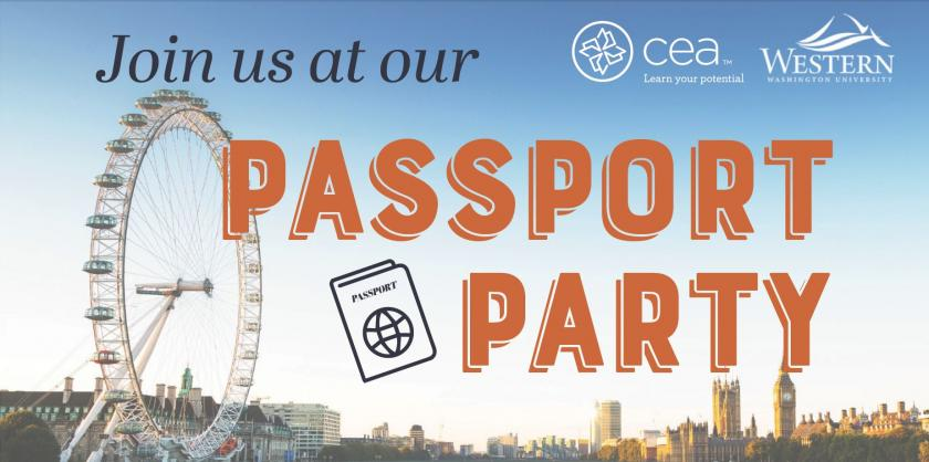 Flyer for CEA & WWU Passport Party