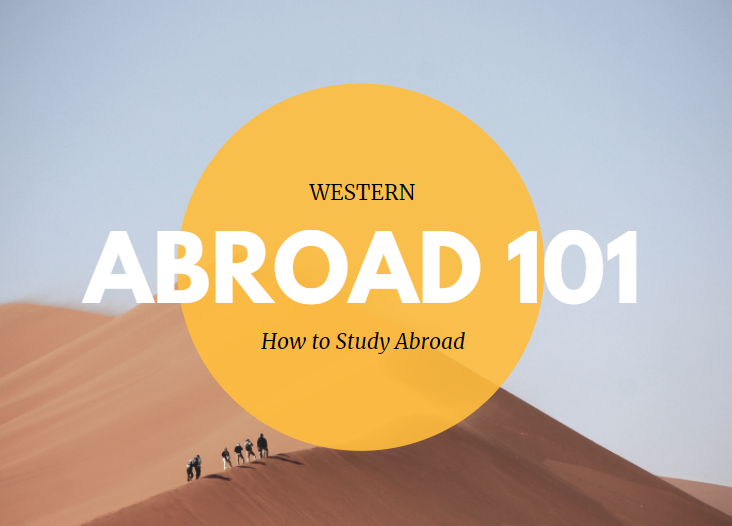 Western ABROAD 101 How to Study Abroad text over a photo of six people in the distance walking up a sand dune