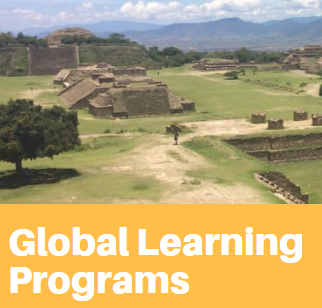 "Photo of ruins and the text ""Global Learning Programs"" in white with an orange background."