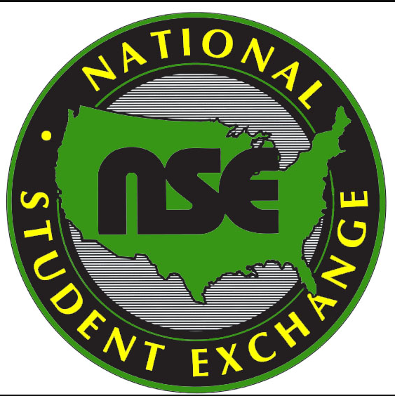 "Logo for National Student Exchange. Image of the United States in green with ""nse"" overlaid in black letters"