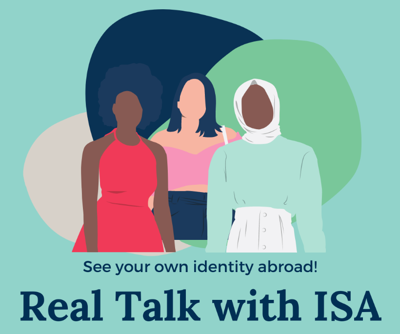 "Image of three faceless people with different clothing and styles and the text, ""See your own identity abroad! Real Talk with ISA"""