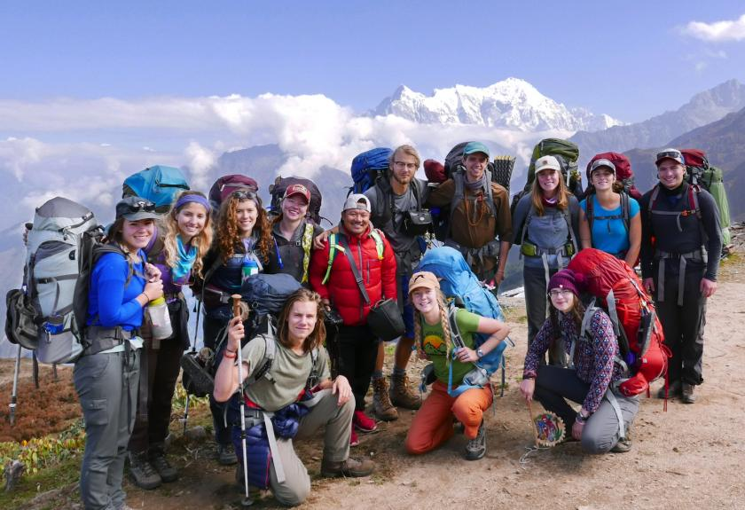Group of students on a trek in Nepal