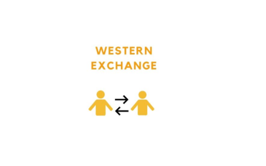 """WESTERN EXCHANGE"" and images of two stick figure people with arrows pointing between the people"