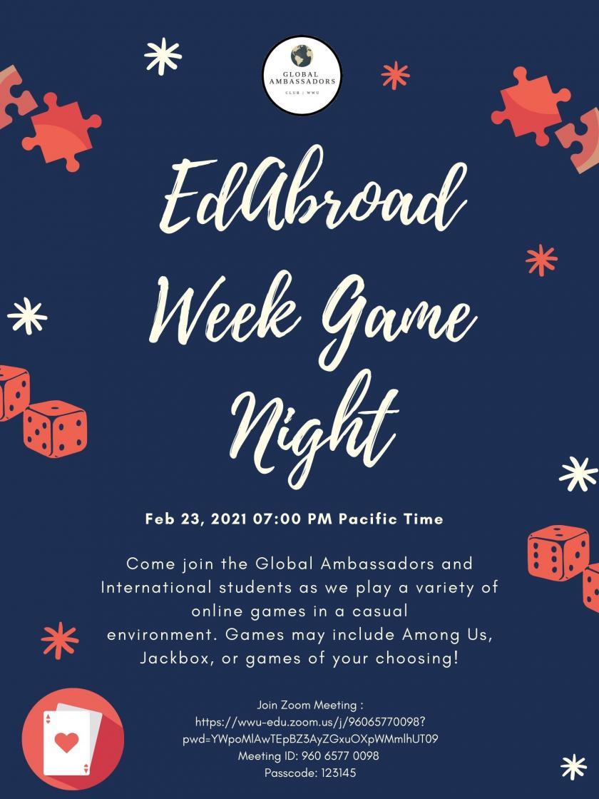 Flyer for EdAbroad Week Game Night